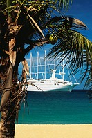 A boat is sailing on a calm sea, The Grenadines