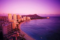 High angle view of buildings at the waterfront, Hawaii, USA