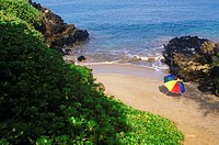 High angle view of a beach umbrella on the beach, Hawaii, USA