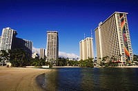 Low angle view of skyscrapers at the waterfront, Hawaii, USA