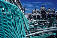Chairs in front of a cathedral, St. Mark's Cathedral, Venice, Veneto, Italy (thumbnail)