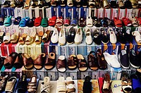 Shoes displayed at a market stall, Italy