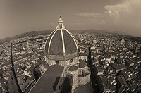 High angle view of buildings in a city, Duomo Santa Maria Del Fiore, Florence, Italy