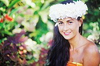 Portrait of a young woman smiling, Hawaii, USA
