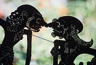 Close-up of shadow puppets