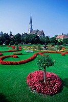 High angle view of flower beds in a garden, Vienna, Austria