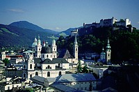 High angle view of a cathedral with a fort on top of a hill, Kollegienkirche, Hohensalzburg Fortress, Salzburg, Austria