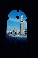 Cathedral viewed from an archway, St. Mark´s Cathedral, St. Mark´s Square, Venice, Veneto, Italy