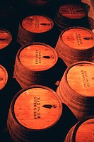 Close-up of port barrels, Oporto, Portugal