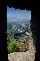 View of a mountain from the window of a castle, Lucerne, Switzerland