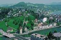 Aerial view of a city, Lucerne, Switzerland