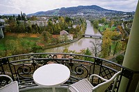 High angle view of a chair and a table in a balcony, Hotel Bellevue Palace, Berne, Berne Canton, Switzerland