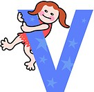 A kid with the letter V