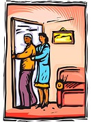 Nurse helping elderly male patient return to room
