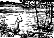 A man fishing in the lake with a fishing rod drawn in black and white