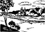 A black and white illustration of houses in the country