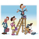 An illustration of a man on top of the corporate ladder