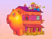 People on the roof putting money into a piggy bank house