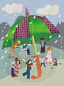 Children playing under a giant umbrella on a rainy day