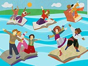 Multicultural people standing on a river of open books (thumbnail)