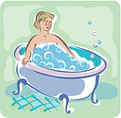 A woman soaking in a bubble bath