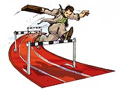 A businessman holding a briefcase and jumping hurdles