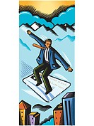 Businessman flying on a credit card