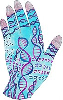 A picture of a dna hand