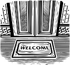 Welcome mat in front of a door, black and white