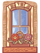 Window with window box of flowers