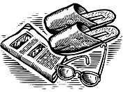 An black and white illustration of slippers, glasses, and newspaper