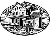 Oval shaped picture of a house with a for sale sign in front, black and white