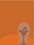 A picture of a woman on orange background