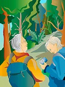An illustration of two seniors hiking together