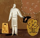An illustration of a woman watering a small tree (thumbnail)