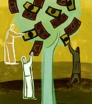 An illustration of people picking money from a tree (thumbnail)