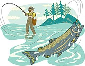 A pictorial representation of a man fly fishing