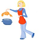 A picture of a Cancer girl dropping a crab into a pot