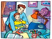 An Graphic representation of a dad helping his son with homework (thumbnail)