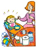Mother feeding baby in highchair