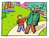 A young boy walking in the park with an elderly gentleman