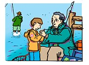 An elderly man helping a young boy to bait a fish hook