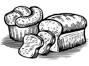 A drawing of loaves of bread illustrated in black and white