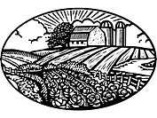 Oval scene of vegetable garden with barn and silo in the background, black and white