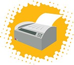 Drawing of a fax machine on yellow background