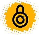 Drawing of a lock on yellow background