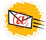 An envelop and @ sign symbolising the process of sending an email