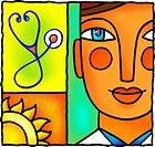 An illustration of a doctor, a sun and a stethoscope