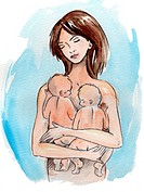 A woman holding her infant twins (thumbnail)
