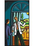 A doctor greeting a patient at his office door